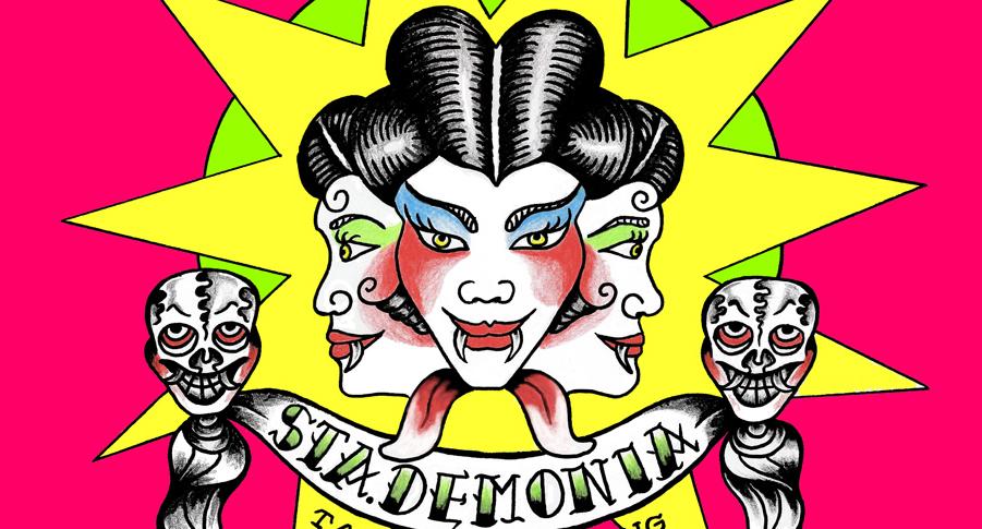 StaDemonia Tattoo Stockholm logotyp. Trehövdad demon med huggtänder och håret uppsatt i knutar.
