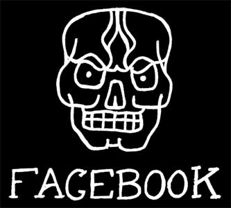 Liten arg dödskalle med texten Facebook, länk till StaDemonia Tattoo Stockholm Facebook.