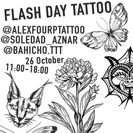 Tatueringsmotiv, illustrationer av en vidöppen pion, ett allvarligt lodjur och en demonliknande varelse.