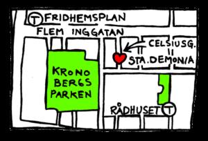 Handritad karta över kronobergsparken med omgivning där StaDemonia Tattoo Stockholm märks ut med hjärta.