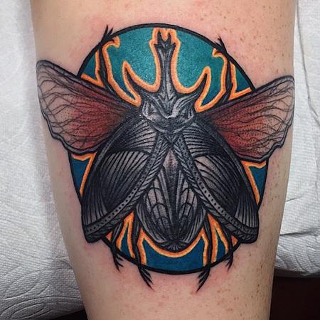 Tatuering av Kai Knowfolly. Färglad och mycket detaljera insekt i old school stil.
