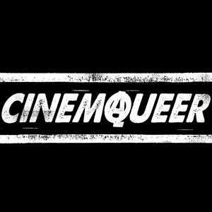 CinemaQueers logga där A och Q möts i ett anarkiskt A.