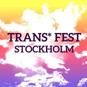 Texten Trans Fest Stockholm över en lilarödgul himmel med sommarmoln.