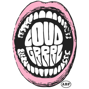 I en vidöppen rosa mun med tänder kan texten Loud Grrl läsas.