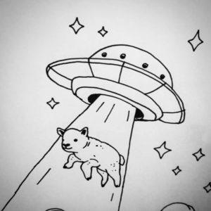 Queer Konst av Hanna Gustavsson. Ett lamm strålas upp i en rymdfarkost med stjärnor omkring.