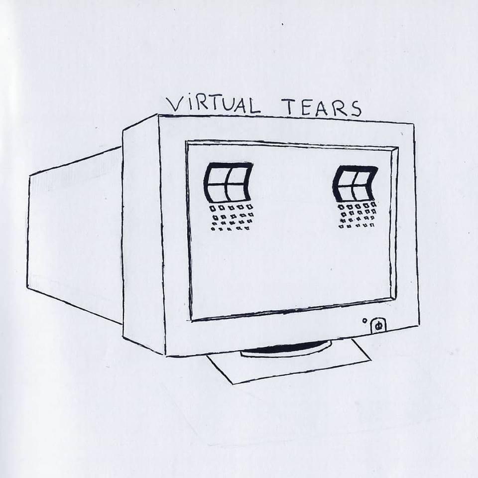 Illustration inför Queer Konst utställning. En teckning av gråtande windowsdator, av Jazz.