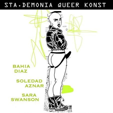 Illustration av tatuerare Bahia Diaz. En androgyn person tittar på oss halvt bortvänd, iklädd jacka, boots och harness med dildo.