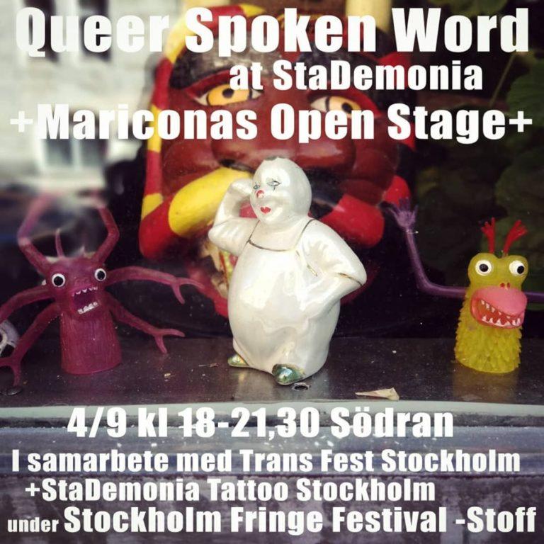 Plastiga fingermonster och nött porslinspajas pratar framför ett djävulshuvud. Text annonserar Queer Spoken Word.