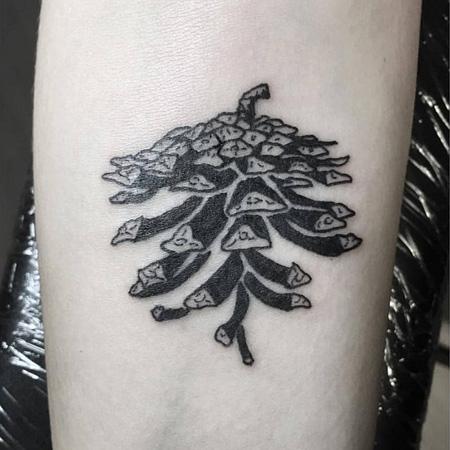 Tatuering av queer tatuerare Kaija Papu. Kotte i blackwork stil.