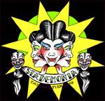 StaDemonia Tattoo Stockholms logotyp. Trehövdad demon med huggtänder, långa ögonfransar och stiligt uppsatt hår.