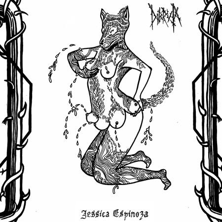 Tecknad varg med människokropp och sex bröst som hen klämmer mjölk ur. På sidorna grova växter med taggar. Av Jess Dibruja Espinoza.