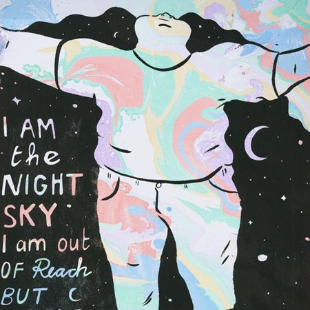 Illustration av Rudy Loewe av person med långt svallande svart hår, som en natthimmel, med öppna armar. I natthimlen står det I am the Night Sky.