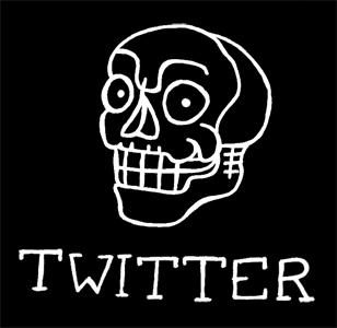 Illustration av en glad dödskalle med texten Twitter, länk till StaDemonia Tattoo Stockholm Twitter.