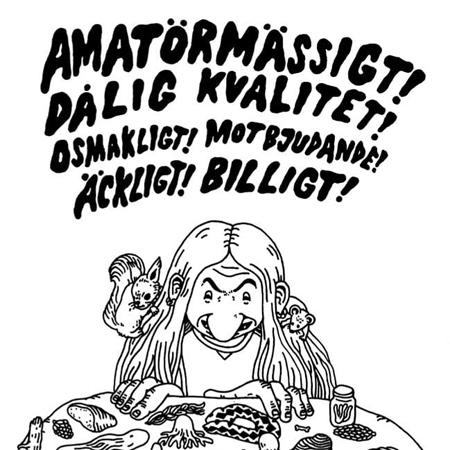 Affischbild för Queer Konst utställning på StaDemonia Tattoo Stockholm. Ett troll sitter och tittar ner på sina skogsfynd, en ekorre och en råtta i håret.