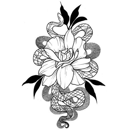 Tatueringsmotiv i blackwork stil av tatuerare Bahicho. En orm slingrar om en stor utslagen blomma.