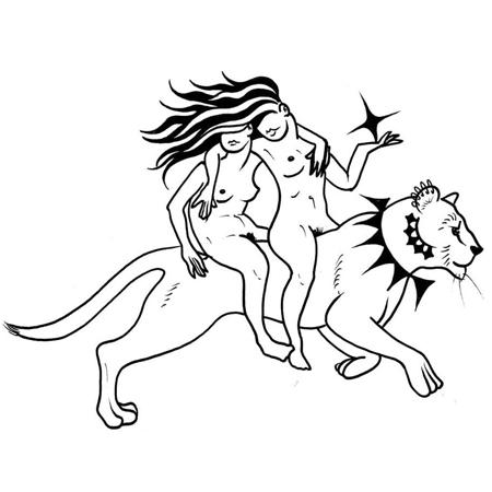 Tatueringsmotiv i blackwork stil av tatuerare Bahicho. Två kvinnor rider på en lejonhona, hållande om varandras axlar och en med en stjärna i handen.