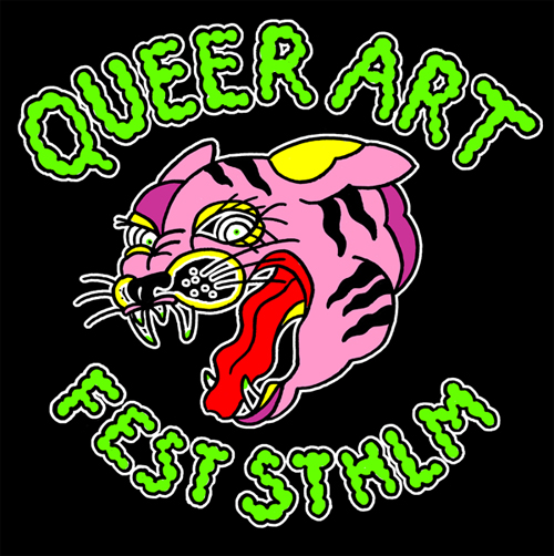 A crazy happy pink tiger head with toxic green text saying Queer Art Fest Stockholm.