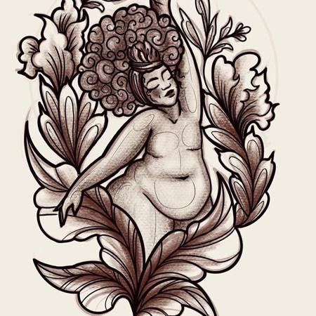 Flash för tatuering av queer tatuerare Kai Knowfolly. Feminin person med stort hår, kurvig kropp och platt bröst njuter av blommor.