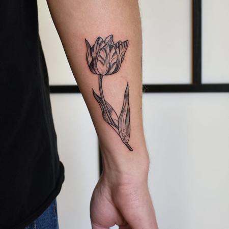 Tatuering på underarm av queer tatuerare Alex , tulpan i gravyr stil.
