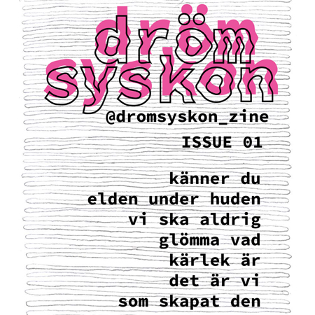 Fler inför lansering av fanzinet drömsyskon. Titeln i rosa och drömmig flytande text.