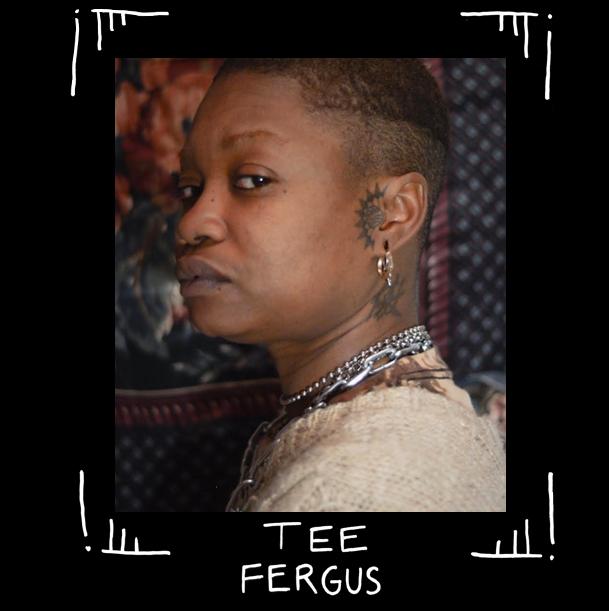 Porträtt av queer tatuerare Tee Fergus, tittar allvarligt i kamera med mjuk stickad tröja och huvudtatuering