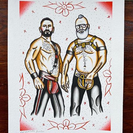 Två gay björnar med bar överkropp och harens. Akvarellmålning av queer tatuerare GerFer