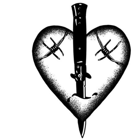 Hjärta med dolk och taggtråd, illustration för tatuering i blackwork stil.