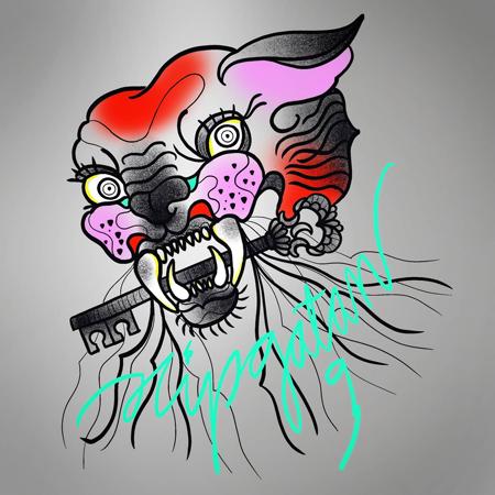 Rosa och röd huggtandad tiger med nyckel mellan tänderna, texten Slipgatan 9 i knallgrönt.