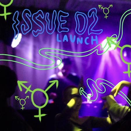 Oskarp bild på person som dansar i lila ljus med transsymbol ritad i neongrönt bakom och framför.