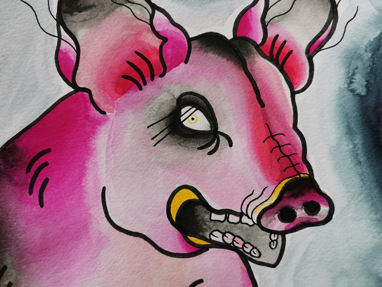 Rosa gris med långa ögonfransar målad i akvarellfärger