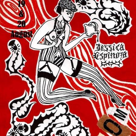 Svartvit illustration på knallröd bakgrund, peroson med bara bröst och randiga kläder, av tatuerare Jess Espinoza